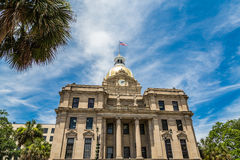Gold Dome and Clock on Savanah City Hall Royalty Free Stock Images