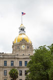 Gold Dome and Clock on Savannah City Hall Stock Photography