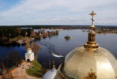 Gold domes of church Stock Photos