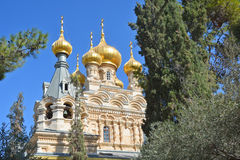 Gold Domes of church is dedicated to Mary Magdalene Stock Photography