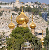 Gold Domes of church. JERUSALEM ISRAEL 25 11 16: Gold Domes of church is dedicated to Mary Magdalene. According to the16th chapter of the gospel of Mark, Mary stock image