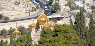 Gold Domes. JERUSALEM ISRAEL 25 11 16: Gold Domes of church is dedicated to Mary Magdalene. According to the16th chapter of the gospel of Mark, Mary Magdalene royalty free stock photos