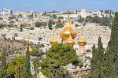 Gold Domes. JERUSALEM ISRAEL 25 11 16: Gold Domes of church is dedicated to Mary Magdalene. According to the16th chapter of the gospel of Mark, Mary Magdalene royalty free stock images