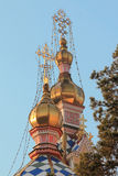 Gold domes of the Orthodox temple Royalty Free Stock Photos