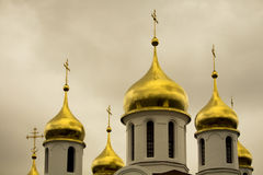 Gold domes of Russian Orthodox Church. South Africa. Royalty Free Stock Photos