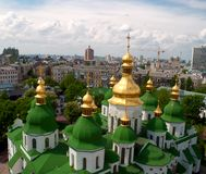 Gold domes of Saint Sophia Cathedral Royalty Free Stock Photos