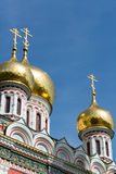 Gold domes of Shipka church, Bulgaria Royalty Free Stock Images