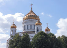Gold domes of the temple in Moscow Royalty Free Stock Images