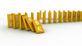 Gold domino euro and dollar Royalty Free Stock Photo