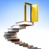 Gold door and books Stock Image