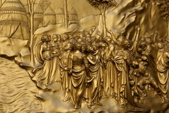 Gold Doors 1. Gold door of the Baptistery by Ghiberti in Florence, Italy Stock Photo