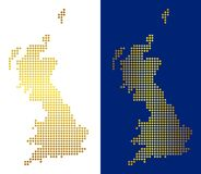 Gold Dot Great Britain Map. Gold dotted Great Britain map. Vector geographic maps in bright colors with vertical and horizontal gradients. Abstract pattern of vector illustration