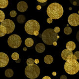 Gold Dots Faux Foil Metallic Black Background. Gold Dots on Black Faux Foil Metallic Background Pattern stock photo