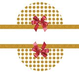 Gold dots red  bows background Royalty Free Stock Photography