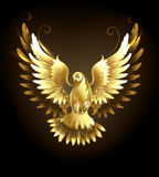 Gold dove. Gold flying dove on a black background royalty free illustration