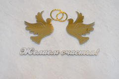 Gold doves on the wall with ring Stock Image