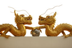 Gold dragon. Dragons and crystal ball in toenail royalty free illustration
