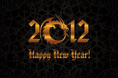 Gold Dragon. 2012 New Year Card Royalty Free Stock Photos