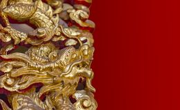 Gold dragon with clipping mask Stock Photography