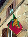 Gold Dragon Flag, Sienna, Italy Stock Photo