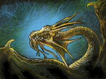 Gold Dragon II. Golden Dragon with blue aura.  A pastel sketch Stock Photo