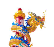 Gold dragon isolated on white background Royalty Free Stock Photography