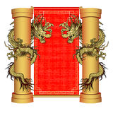 Gold dragon on a pole on the background of vector illustration