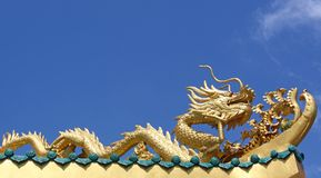 Gold dragon Sculpture Royalty Free Stock Images