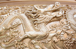 Gold Dragon Sculpture In The Chinese Temple. Royalty Free Stock Images