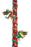Gold dragon sculptures on the pole Royalty Free Stock Photos