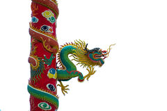 Gold dragon sculptures on the pole Royalty Free Stock Photo