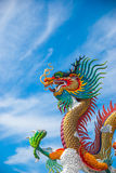 Gold dragon on sky blue. The gold dragon on sky blue Stock Images
