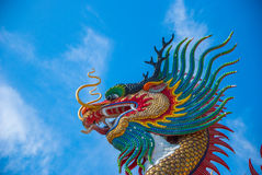 Gold dragon on sky blue. The godrald gon on sky blue Royalty Free Stock Photography
