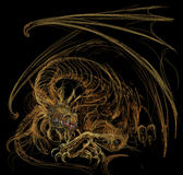 Gold Dragon wakening. Gold dragon resting.  A pastel sketch Stock Photo