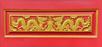 Gold dragon on the wall Royalty Free Stock Photos