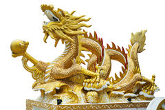 Gold Dragon white background. Gold dragon with marble in the right foreleg Stock Photo