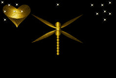 Gold Dragonfly and Heart Royalty Free Stock Photo