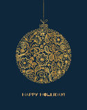 Gold drawing design of New Year decor. Xmas card. Vector illustration of Christmas tree toy Royalty Free Stock Images