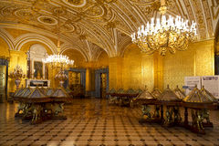 The gold drawing-room of Russian Empress Alexandra Feodorovna in the State Hermitage Stock Images