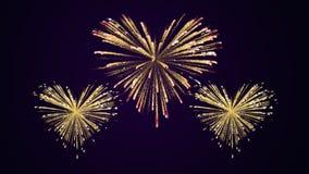 Gold drei und rote Feuerwerke in Form Herzen Lizenzfreie Stockbilder