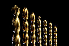 Gold Drill Bits Royalty Free Stock Photography
