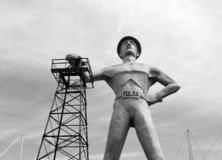 Gold driller ,black and white picture Tulsa Royalty Free Stock Photography