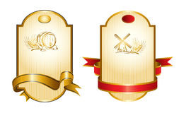Gold Drink Label. Vector illustration - gold labels and ribbons stock illustration
