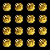 Gold drop building icons. Vector web icons, gold drop series