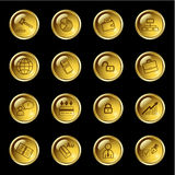 Gold drop business icons Stock Photography