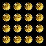 Gold drop e-mail icons Stock Photography