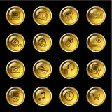 Gold drop electronics icons Stock Image