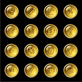 Gold drop finance icons. Vector web icons, gold drop series Stock Image