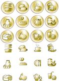 Gold drop image viewer icons. Vector food icons, gold drop series Royalty Free Stock Photography