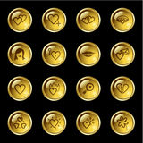 Gold drop love icons Stock Photography